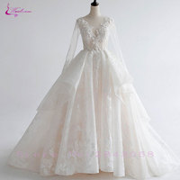 Waulizane Charming Appliques Lace Ball Gown Wedding Dresses Hot Sale Vintage Scoop Neck Full Sleeves Court
