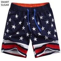 2017 New Casual Loose Elastic Waist Print Beach Shorts Men USA Flag Star Board Shorts 100