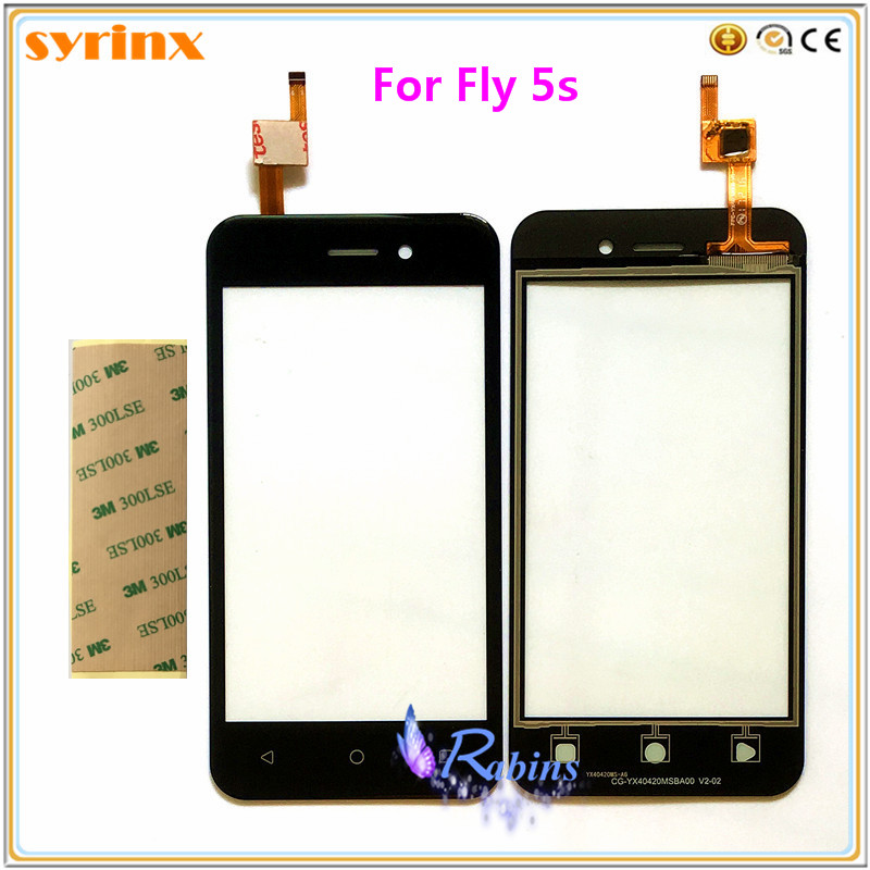 SYRINX Mobile Phone Touch Screen For Fly 5S Sensor Touchscreen Digitizer Front Glass Panel Free 3m Tape For Fly 5S