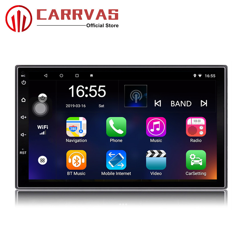 CARRVAS 2 Din Car Multimedia Player Android 8.1 Built in RDS 7 Inch HD Touch Screen GPS Navigation Wifi Bluetooth AM FM ISO