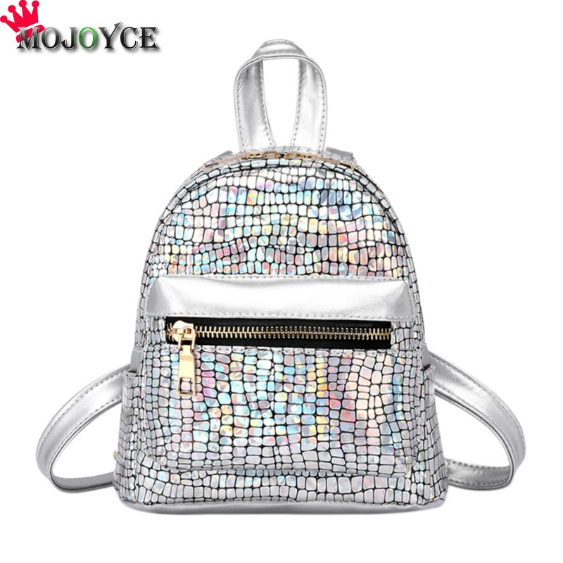 Shining Women Backpack Soft PU Leather Stone Pattern Backpacks for Girls Sequins Gorgeous Travel Party Shoulder Mini Casual Bag 12mm waterproof soprano concert ukulele bag case backpack 23 24 26 inch ukelele beige mini guitar accessories gig pu leather