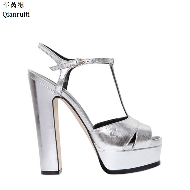 Qianruiti Silver Mirrored-Leather High Heels Women Sandals Summer Block Heels Women Platform Shoes Peep Toe T-Strap Women Pumps stylish women s sandals with t strap and peep toe design