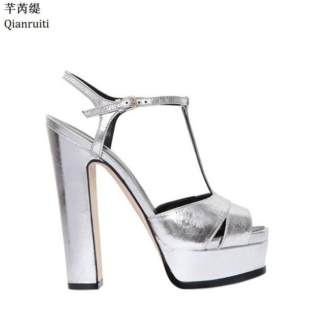 8adbaa359fd7 Qianruiti Silver Mirrored-Leather High Heels Women Sandals Summer Block  Heels Women Platform Shoes Peep Toe T-Strap Women Pumps