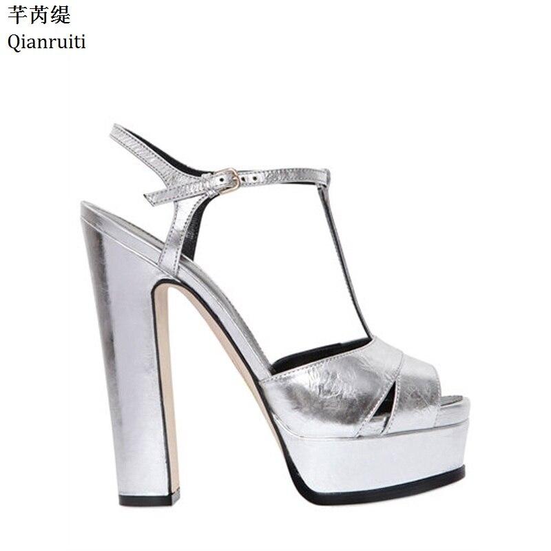 Qianruiti argent miroir-cuir talons hauts femmes sandales d'été bloc talons femmes plate-forme chaussures Peep Toe t-strap femmes pompes