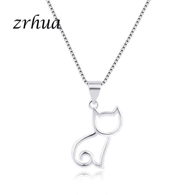 ¡Venta al por mayor! gargantilla de Plata de Ley 925 ZRHUA para mujeres y niñas, collares con forma de gato hueco, joyería fina S925