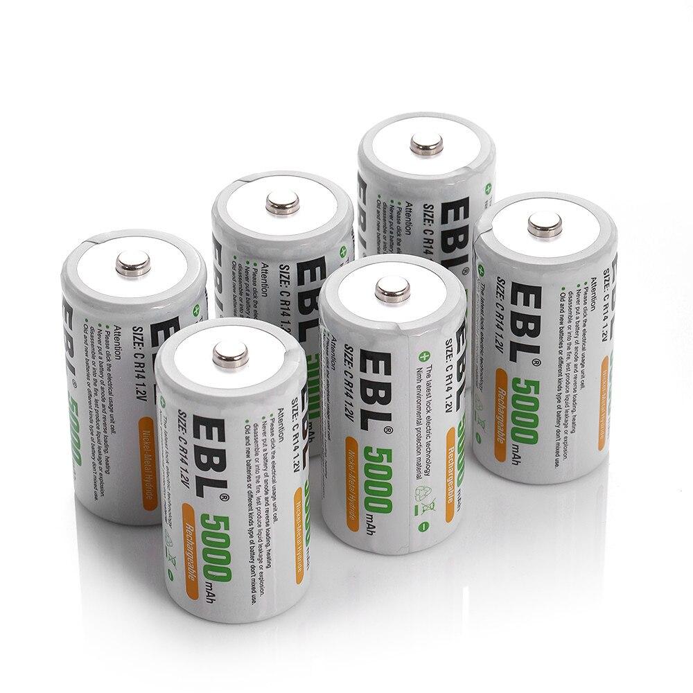 100 pcs/lot EBL 5000 mAh taille C R14 Batteries rechargeables 1.2 v Ni-Mh batterie pour lampe de poche jouets puissance Portable