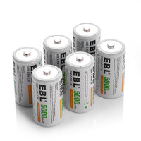100pcs/lot EBL 5000mAh Size C R14 Rechargeable Batteries 1.2v Ni Mh Battery for Flashlight Toys Portable Power
