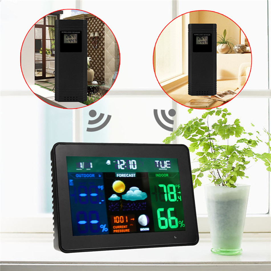 Multi function Wireless Weather Clock Indoor And Outdoor Temperature and Humidity Meter Barometer Calendar Moon Phase Display