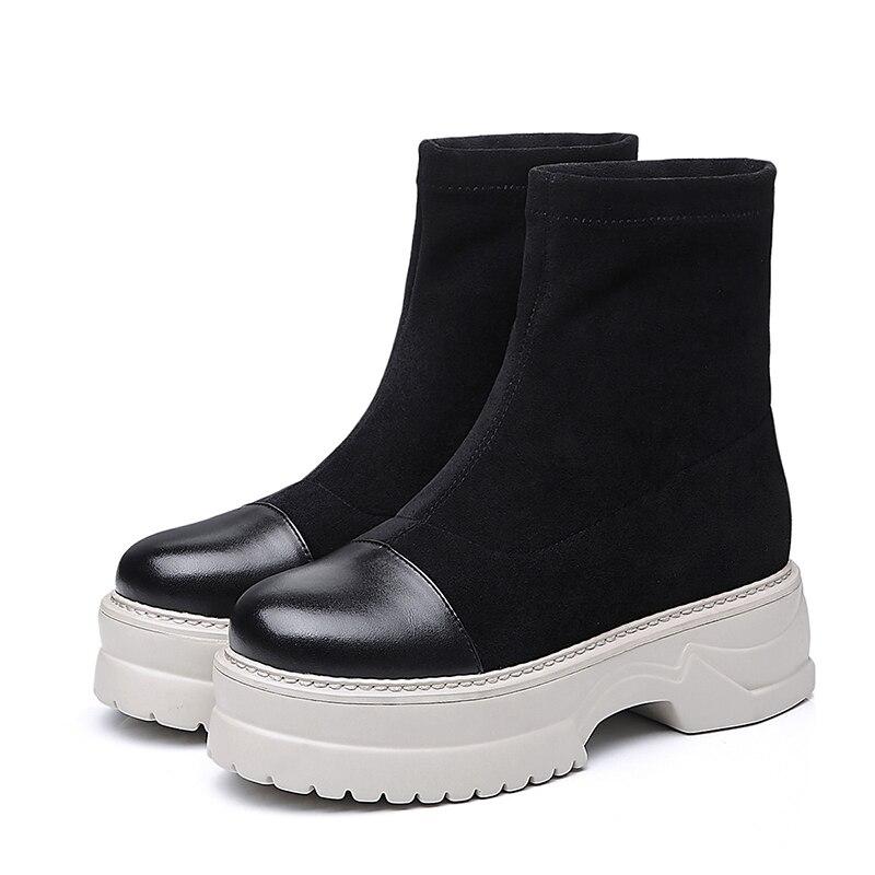 Plataforma Nuevo Mujeres Bota Zapatos Black Plush Wetkiss Redonda Punta Invierno Mujer Cuero Las Calzado Genuino Casuales Botas 2018 De Short 50qZf7