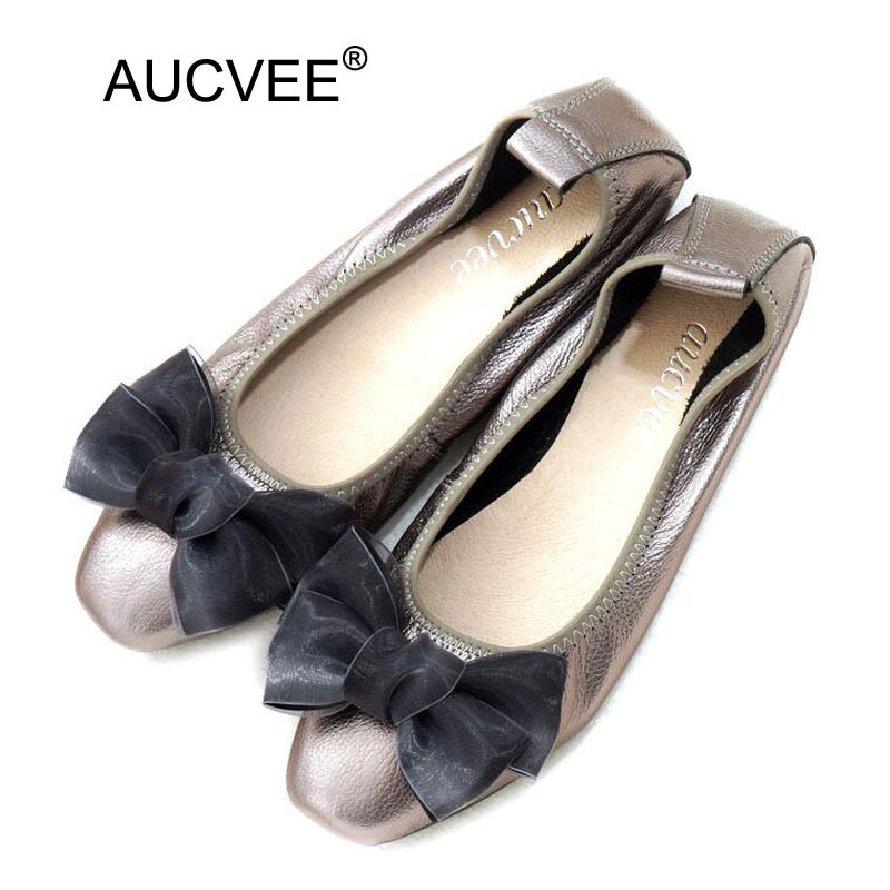 Women Ballet Flats Plus Size 34-43 Cow Leather Loafers Woman Shoes 2018 Spring Sweet Bow Slip On Black Ballerina Shoes For Women spring women loafers soft slip on ballet flats for 2017 summer style stripe canvas shoes woman plus size 35 40