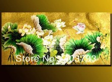 MODERN ABSTRACT HUGE LARGE CANVAS ART OIL PAINTING  gold lotus flower free shipping