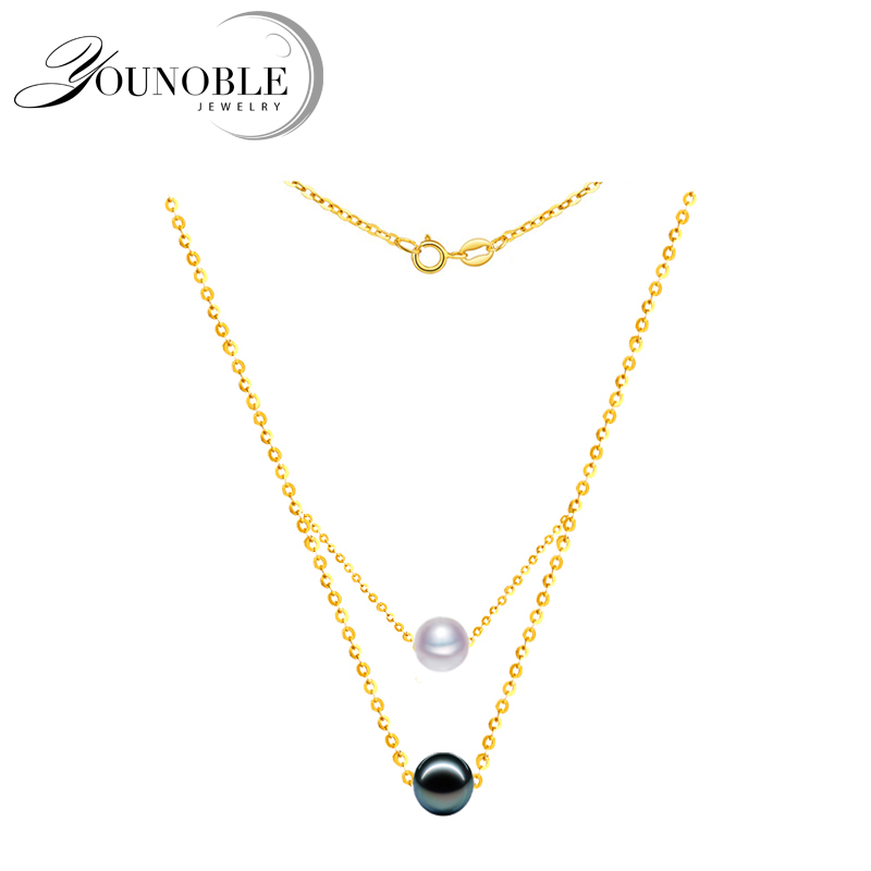 100% real 18k gold Pendant with Tahiti Akoya Pearl,Round Black Pearl Pendant Necklace Anniversary Gift