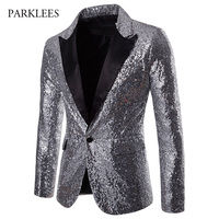Fashion Silver Blazer Men Shiny Sequins Glitter Mens Suit Jacket Blazers New Party Stage Singer Host Night Club Costume Homme