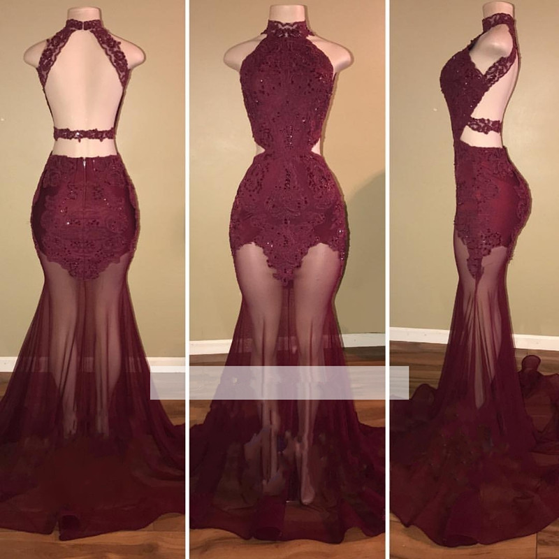 Burgundy 2019   Prom     Dresses   Mermaid High Collar Tulle Lace See Through Party Maxys Long   Prom   Gown Evening   Dresses   Robe De Soiree
