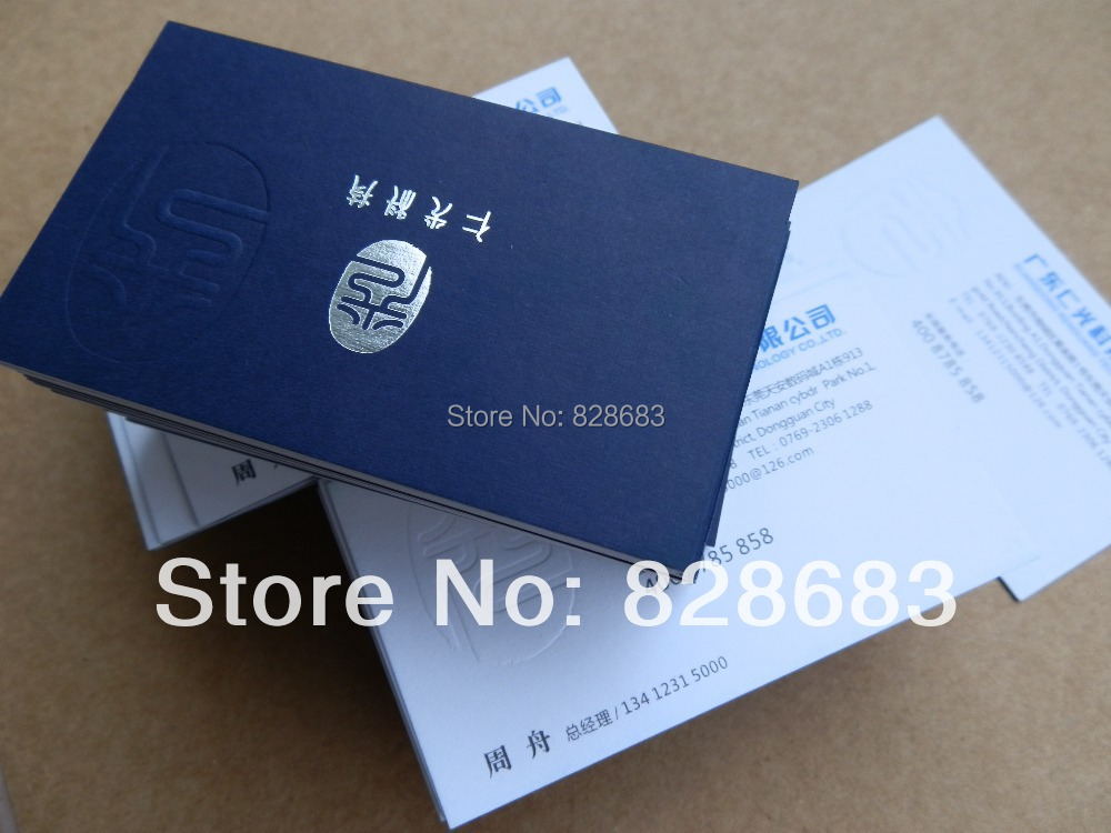 one faced printed Paper Business name card with embossed LOGO art ...