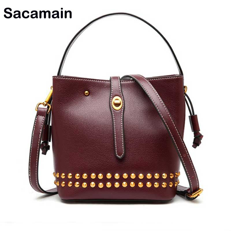 Sac a main Bucket Handbags Womens Genuine Leather Rivet Luxury Handbags Women Bags Designer New Arrival 0217 Bag Bolsa Feminina aitesen tote leather bag luxury handbags women messenger bags designer sac a main mochila bolsa feminina kors louis bags