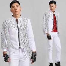 men suits designs tassel homme white stage costumes for singers men sequin blazer dance clothes jacket style dress punk rock