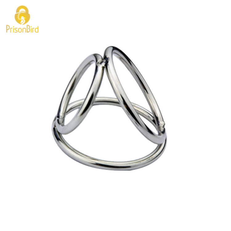 Buy Prison Bird Latest design Triple Stainless Steel Male Chastity Device Rings Ball Enhancer New A172