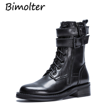 Bimolter Genuine Leather Motocycle booties Women Botas Female Womens Ankle Boots Square Heel Martin Autumn Shoes LASB004