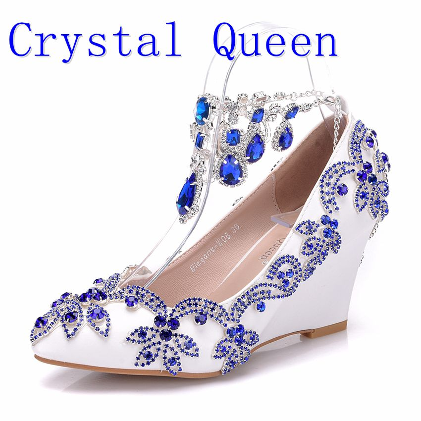 Crystal Queen New Fashion Blue Rhinestone Wedges Pumps Shoes Blue Water Drill Tassel Chain Wedding heels High Heels Party Shoes aidocrystal 2016 royal blue wedding rhinestone shoes evening crystal high heel diamond studded heels pure handmade pumps new