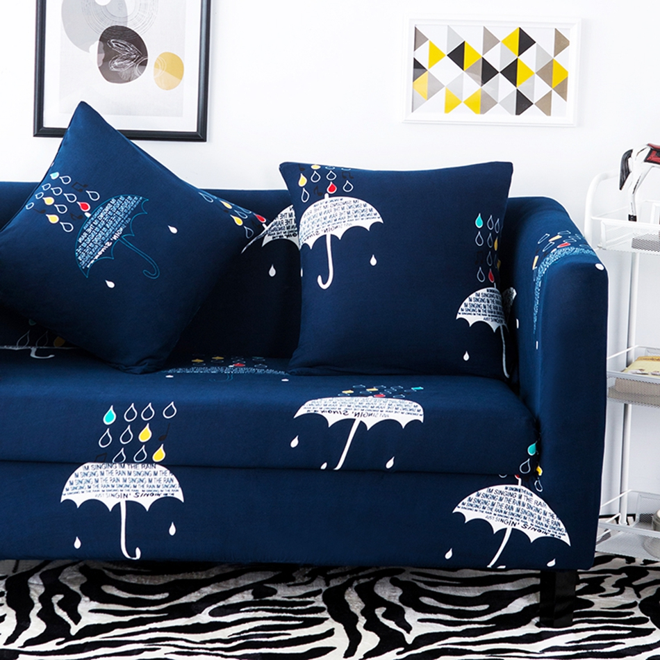 Blue Umbrella Pattern Sofa Covers For Living Room Multi size Corner Sofa Slipcovers 100 Polyester Stretch