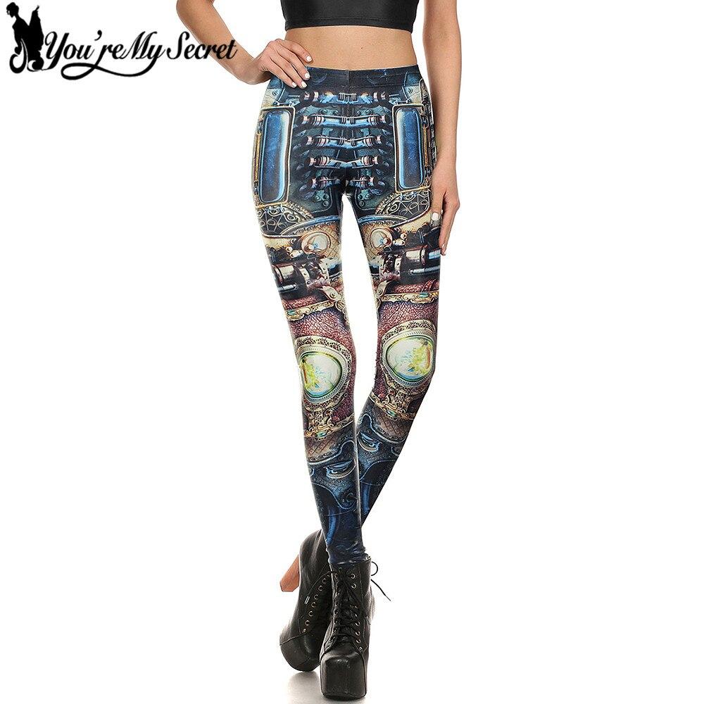 [Youre My Secret]2017 Game World Gold Gear Workout Leggings Women Steampunk 3D Printing Digital Women leggins Thin Slim Pants
