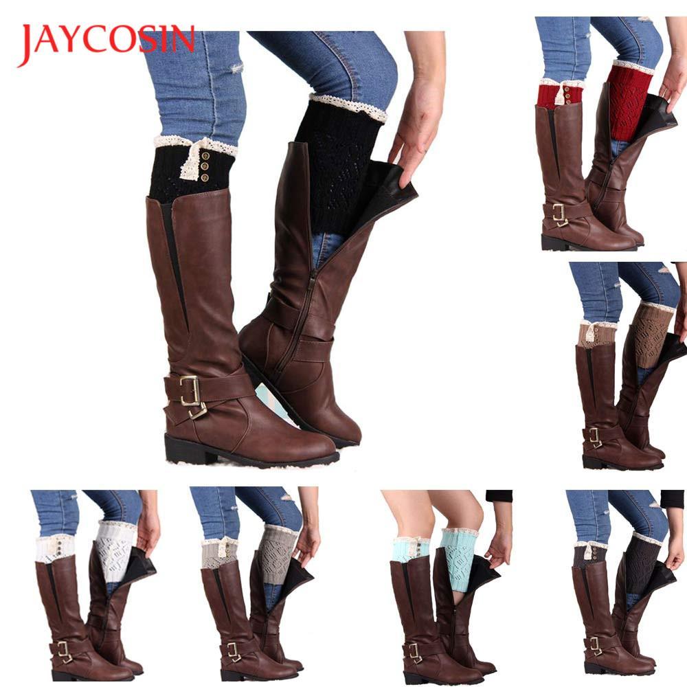 JAYCOSIN socks fashion Unisex style Women Popular Lace Stretch Boot Leg Cuffs Boot Socks Solid MAR9