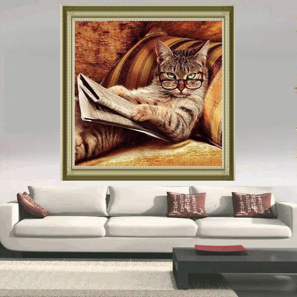 Купить с кэшбэком Diamond painting mosaic embroidery Reading the cat full drill square rhinestone kitten crafts Needlework wall paintings stickers