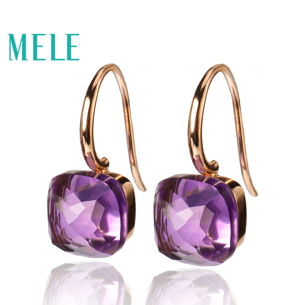 Natural Amethyst 18K Gold gemstone earrings for women,Square, geometric shape, sun fashion and trendy lcjmmo red spring summer girl lace dress 2018 kids dresses for girls princess party wedding sleeveless baby girl dress clothes
