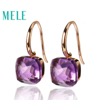 Natural Amethyst 18K Gold gemstone earrings for women,Square, geometric shape, sun fashion and trendy