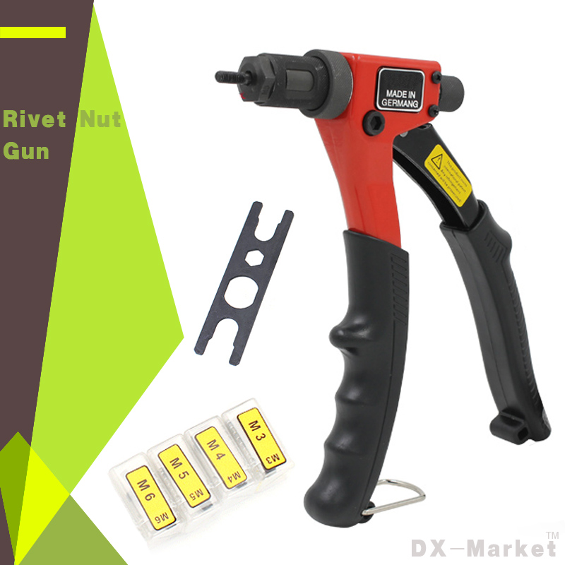 Blind Rivet Nut Gun , Heavy Hand INSER NUT Tool , Manual Mandrels With Mounting Head M3 M4 M5 M6 And Wrench