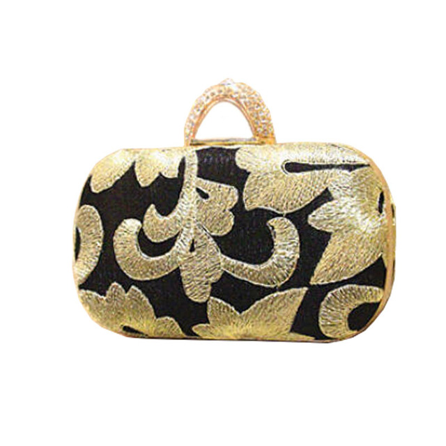 2015 embroidery clutch bags vintage gold clutches top quality finger rings evening bag 100% new party bags free shipping w156