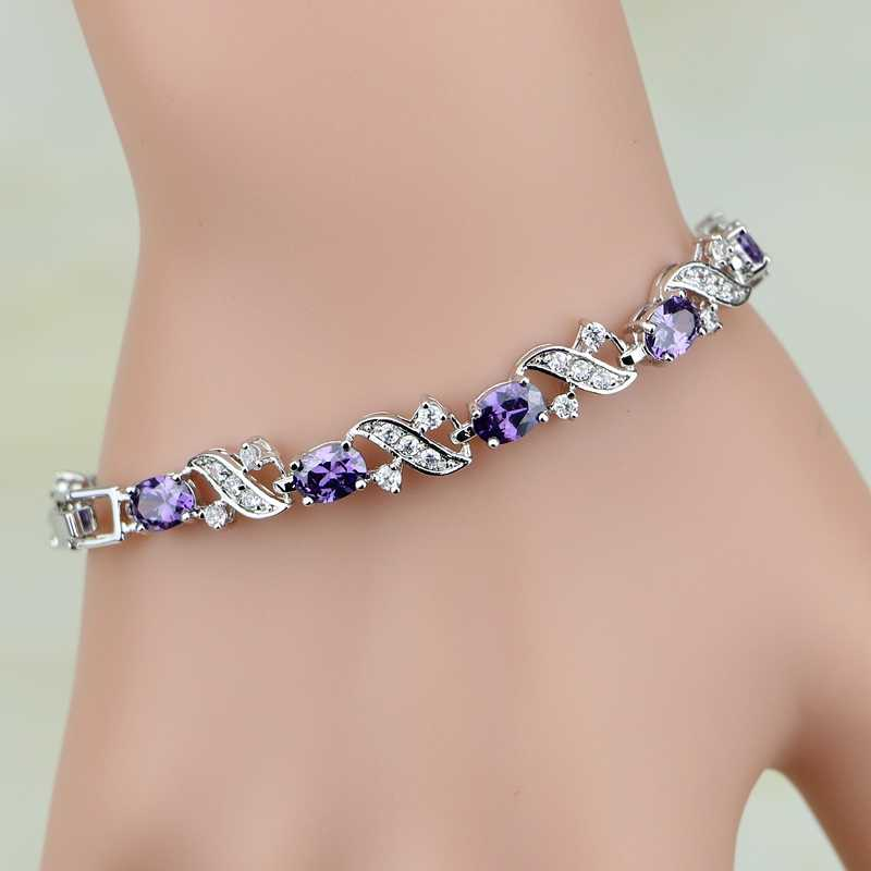 925 Sterling Silver Jewelry Mystic Purple Cubic Zirconia White CZ Charm Bracelets For Women Free Gift Box