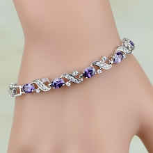 925 Sterling Silver Jewelry Mystic Purple Cubic Zirconia White CZ Charm Bracelets For Women Free Gift Box