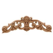 VZLX Vintage Unpainted Wood Carved Corner Onlay Applique Frame Decorate Wall Door Furniture Decorative Figurine Wooden Miniature