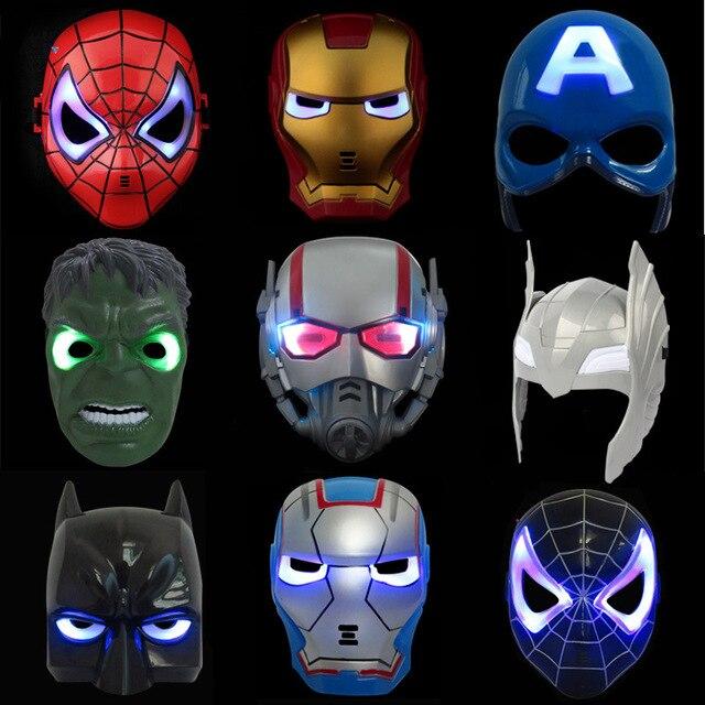 Máscara de Vingança dos desenhos animados Superman Spiderman Máscara Luminescência Morcegos Ferro E Aço Brinquedos Para Crianças Hobbies Toy Figuras de Ação