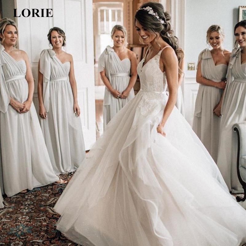 LORIE Tulle Wedding Dresses 2019 Spaghetti Straps Vestido De Noiva Sleeveless V Neck Open Back Summer Wedding Dress Custom Made