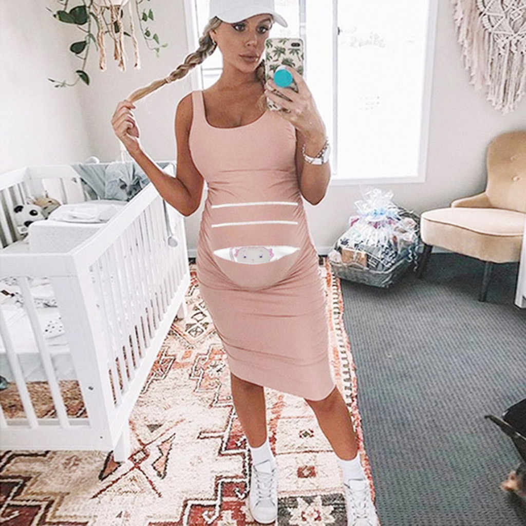Tank Maternity Dresses Sleeveless Pregnancy Clothes Casual Summer Dresses  pink Breastfeeding Clothes Sleeveles