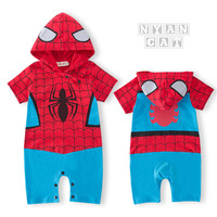 2017 Unisex Baby Rompers Newborn Body Clothes For Baby Spider Man Hooded Jacket Fashion Unique Cotton
