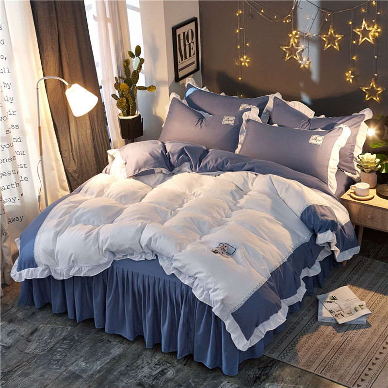 White Blue Bedding sets For kids Girls Queen Twin King size lace Duvet cover ruffle Bed skirt set Pillowcase princess bedclothesWhite Blue Bedding sets For kids Girls Queen Twin King size lace Duvet cover ruffle Bed skirt set Pillowcase princess bedclothes