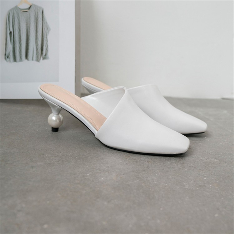Ouqinvshen Square Toe Women Slippers Summer Yellow Fashion Outdoor Rubber Mules High Heels Genuine Leather Shoes Woman 2019