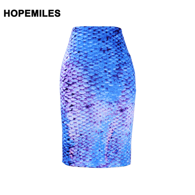 7b985a56d2 Stylish 3D Mermaid scales pattern girls pencil skirts M-XXL lady midi saia  female faldas women bodycon bottoms wholesale