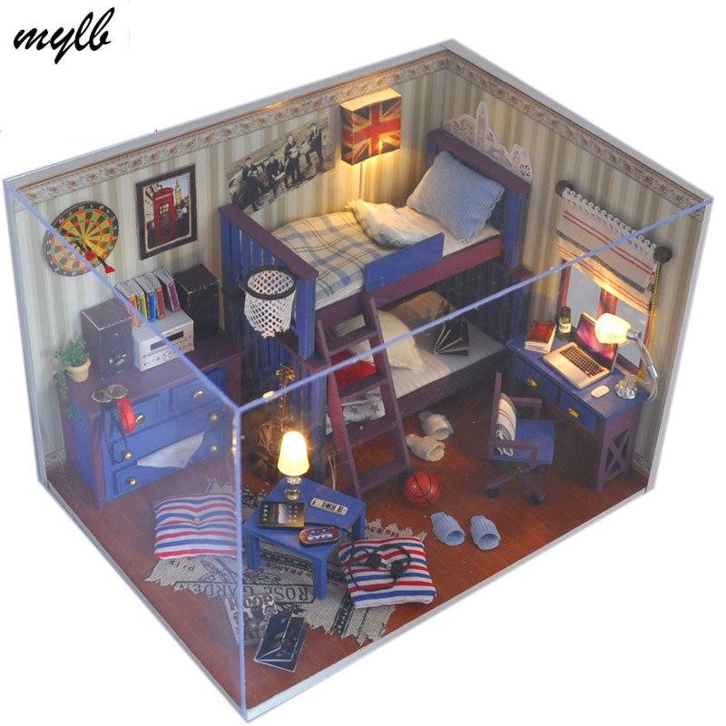 Падение доставка Мини Кукольный дом детские игрушки, мебель miniatura diy домов миниатюрный кукольный домик Деревянный игрушки ручной работы под...