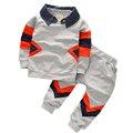 2016 nova Outono Coreano Flanging cowboy costura manga Longa crianças conjuntos de roupas de algodão meninos roupas meninas roupas 1-4 ano