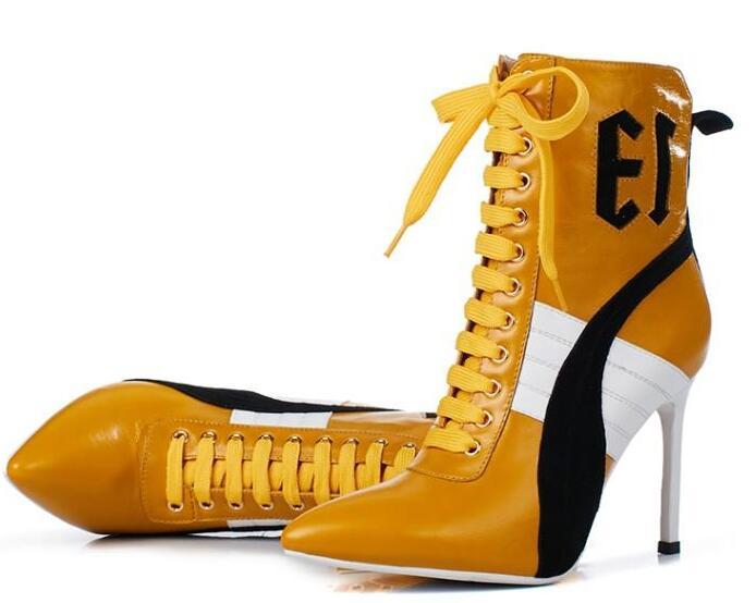 Sexy De atado Zapatos Picture Lace Estrecha Botines Tacones Beertola Punta Picture as Tobillo Cruz up Cremalleras Zapatillas As Botas Mujeres Mujer Stiletto 50Iqdwg