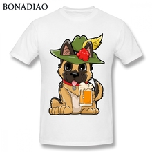 da7e9adf Cotton Soft Oktoberfest German Shepherd Prost T Shirt Drinking Beer Tee Tee  Shirt Male T-