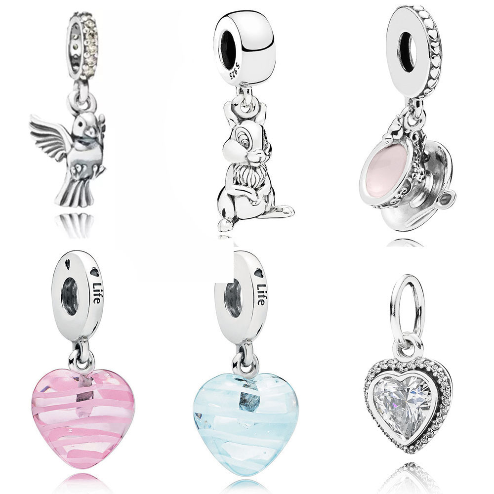 NEW 100% 925 Silver Jewelry Shiny Love Pendant Charming Cup Shake Blue Pink Ribbon Heart Pendant For Original BraceletNEW 100% 925 Silver Jewelry Shiny Love Pendant Charming Cup Shake Blue Pink Ribbon Heart Pendant For Original Bracelet