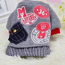 Classic Letter Pocket Pet Dog Coat Clothes For Small Dog Clothes Fashion Cotton Large Dogs Teddy Sports Hoodies Baseball Uniform