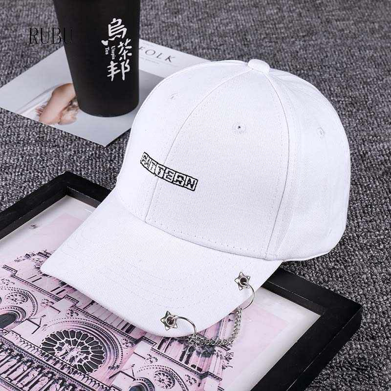New hat men and ladies rings chain iron cap dome curved eaves personality hip hop hat cap models