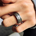 Vintage Fashion Men Women Couple Rings Hip Hop Punk Man Finger Ring Stainless Steel Vintage Silver Cool Biker Ring